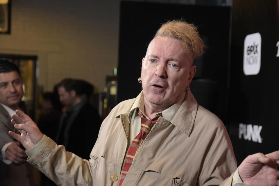 LOS ANGELES, CALIFORNIA - MARCH 04: Singer John Lydon of the Sex Pistols attends the Los Angeles premiere of the EPIX Original Docu-Series