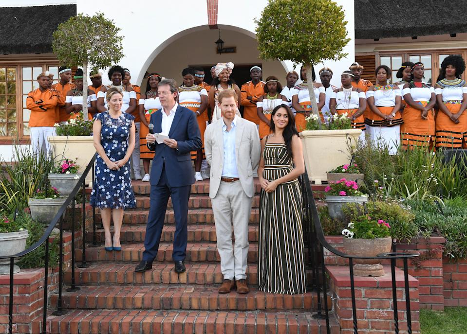 The Duke and Duchess of Sussex at the High Commissioner's Residence in Cape Town [Photo: PA]
