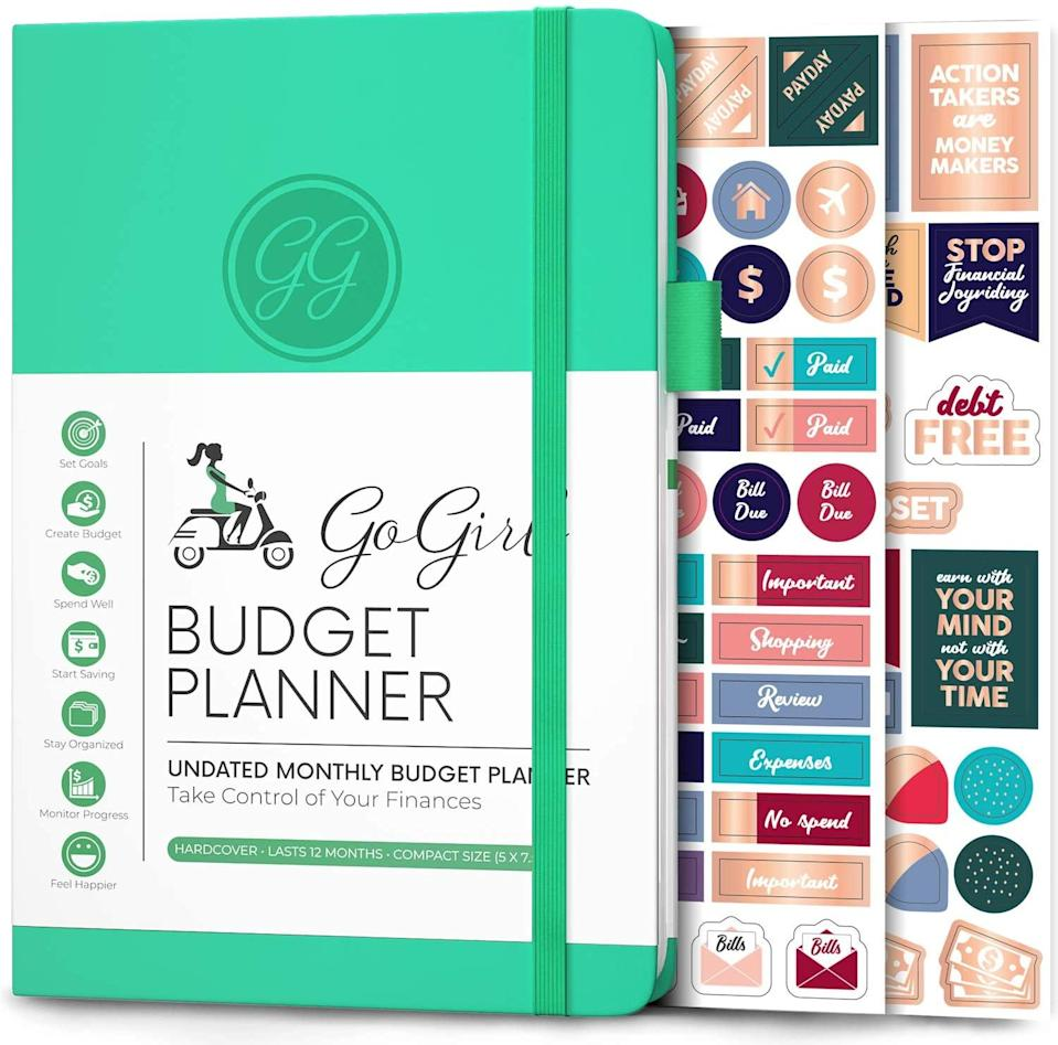 """<h3>GoGirl Budget Planner</h3><br><br><strong>GoGirl</strong> Budget Tracker - Monthly Financial Planner, $, available at <a href=""""https://amzn.to/3nLWoS2"""" rel=""""nofollow noopener"""" target=""""_blank"""" data-ylk=""""slk:Amazon"""" class=""""link rapid-noclick-resp"""">Amazon</a>"""