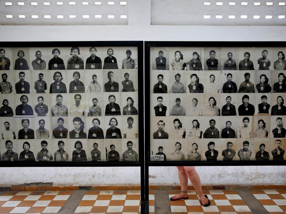 Pictures of victims of the Khmer Rouge regime at the former Tuol Sleng prison that is now a museum on the Cambodian genocide (REUTERS)