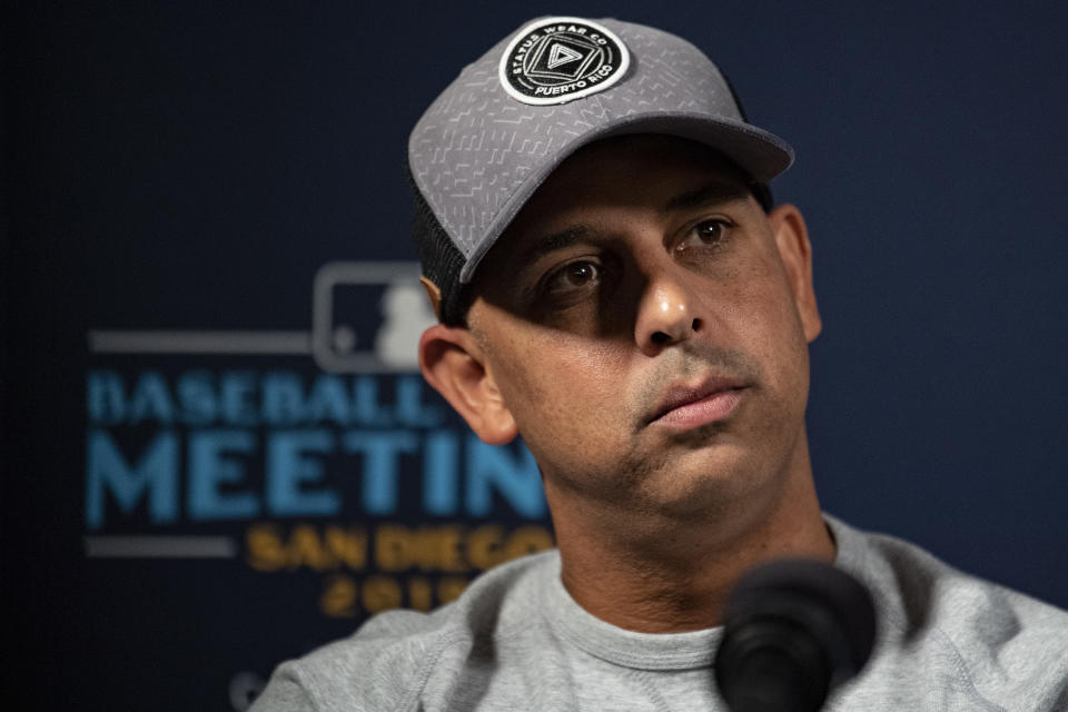 Red Sox manager Alex Cora is still facing punishment in the Astros sign-stealing saga. (Photo by Billie Weiss/Boston Red Sox/Getty Images)