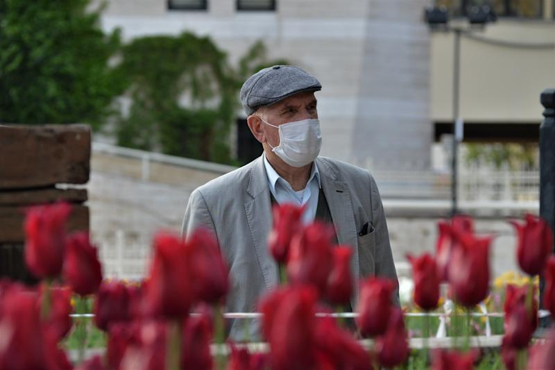 ANKARA, TURKEY - MAY 4, 2020: An elderly man wearing a protective mask walks in a street amid the coronavirus COVID-19 outbreak.- PHOTOGRAPH BY Altan Gocher / Barcroft Studios / Future Publishing (Photo credit should read Altan Gocher/Barcroft Media via Getty Images)