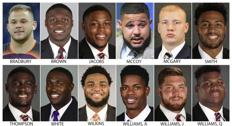 """These photos provided by their respective schools shows prospects in the 2019 NFL Draft. Top row from left are: Garrett Bradbury, N.C. State; A.J. Brown, Ole Miss; Josh Jacobs, Alabama; Erik McCoy, Texas A&M; Kaleb McGary, Washington and Irv Smith Jr., Alabama. Bottom row from left are: . Deionte Thompson, Alabama; Devin White, LSU; Christian Wilkins, Clemson; Andraez """"Greedy"""" Williams, LSU; Jonah Williams, Alabama and Quinnen Williams, Alabama (AP Photo)"""