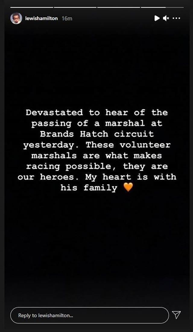 The message posted by Lewis Hamilton