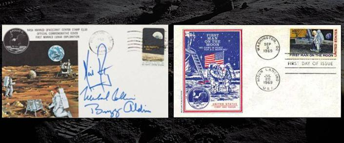 Apollo 11 First Man on the Moon First Day Cover, and Buzz Aldrin's Insurance Cover