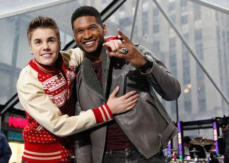"Singers Bieber and Usher pose together after performing on NBC's ""Today"" show in New York"