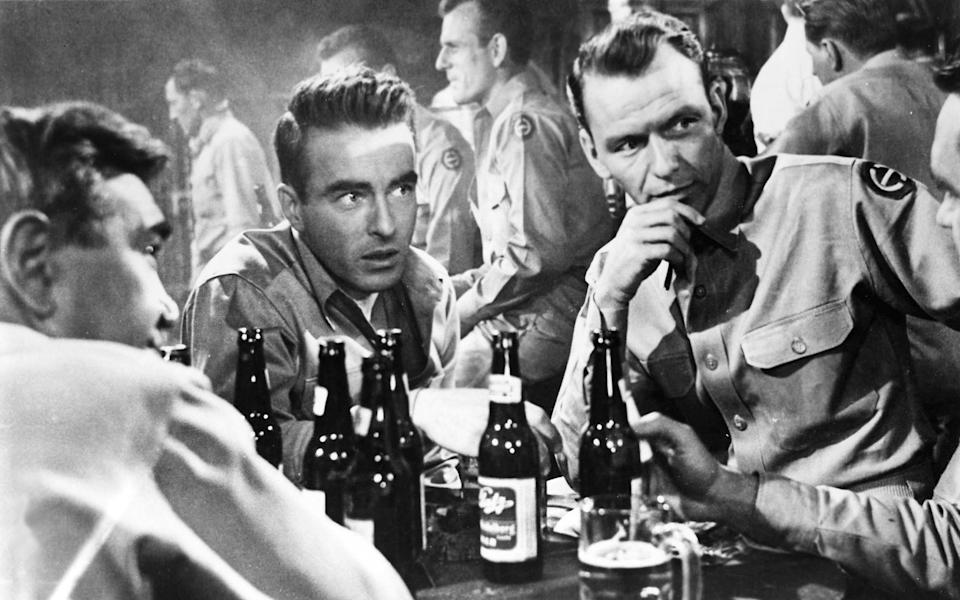 Clift with Frank Sinatra (r), his co-star in From Here to Eternity - AFP