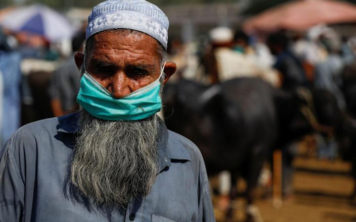 A man wears a protective mask as he sells cows for the upcoming Eid Al Adha sacrifice, at the cattle market in Peshawar, Pakistan - FAYAZ AZIZ/REUTERS