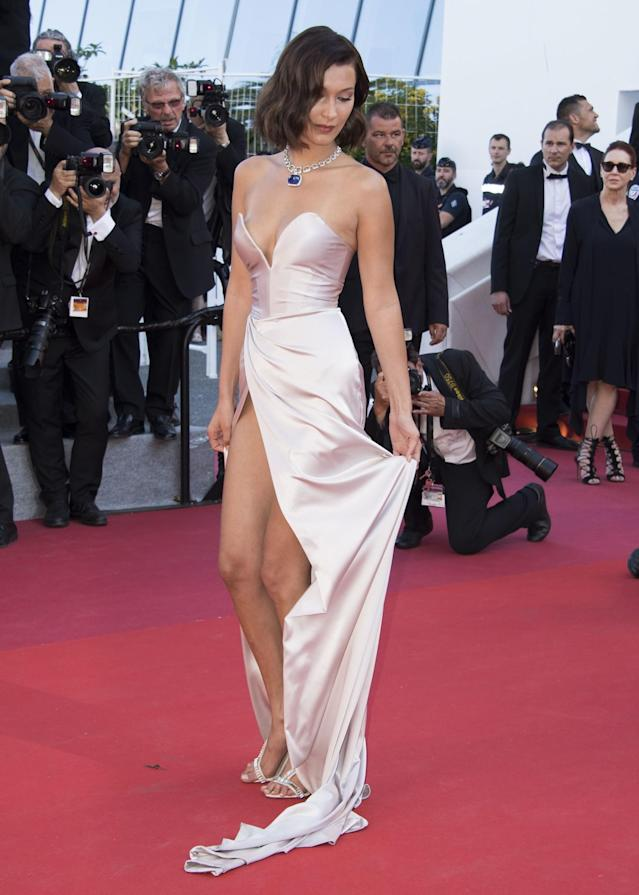 <p>The model had a repeat wardrobe malfunction while yet again wearing a silk Alexandre Vauthier design. (Photo: AP) </p>