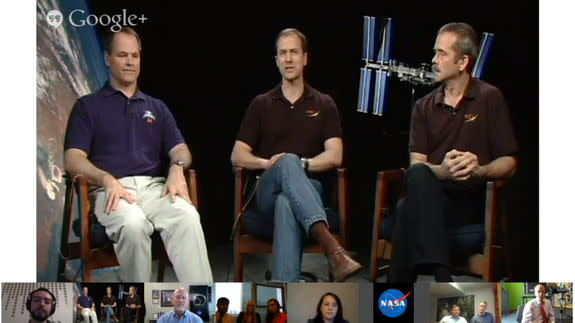 Astronauts (L to R) Kevin Ford, Tom Marshburn and Chris Hadfield take part in an online chat on the social media platform Google+, May 23, 2013.