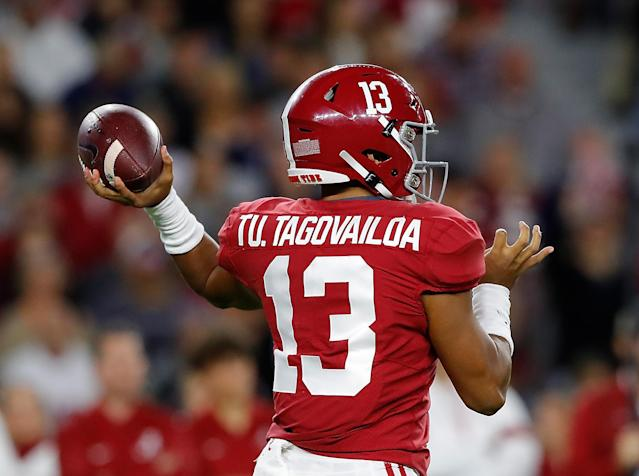 Alabama QB Tua Tagovailoa reportedly will play vs. LSU despite an ankle injury. (Photo by Kevin C. Cox/Getty Images)