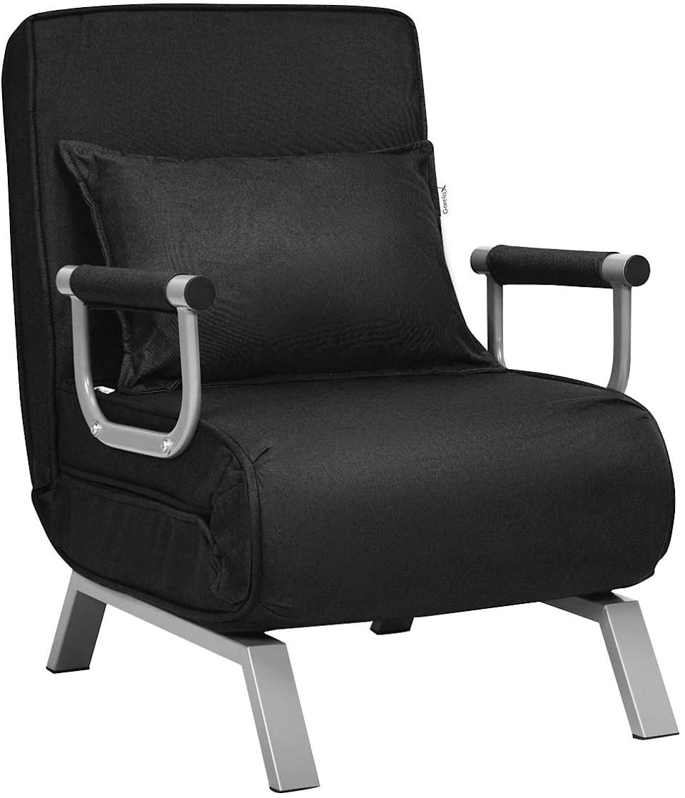 """<h2><a href=""""https://www.amazon.com/Giantex-Convertible-Position-Adjustable-Upholstered/dp/B08DLSGBTN/ref=sr_1_2?"""" rel=""""nofollow noopener"""" target=""""_blank"""" data-ylk=""""slk:Giantex Convertible Sofa Bed Sleeper Chair"""" class=""""link rapid-noclick-resp"""">Giantex Convertible Sofa Bed Sleeper Chair</a></h2><br>Small can still be cozy, and this sleeper sofa chair doubles as an armchair and a comfortable lounge seat. <br><br><strong>Giantex</strong> Giantex Convertible Sofa Bed Sleeper Chair, $, available at <a href=""""https://www.amazon.com/Giantex-Convertible-Position-Adjustable-Upholstered/dp/B08DLSGBTN/ref=sr_1_2?"""" rel=""""nofollow noopener"""" target=""""_blank"""" data-ylk=""""slk:Amazon"""" class=""""link rapid-noclick-resp"""">Amazon</a>"""