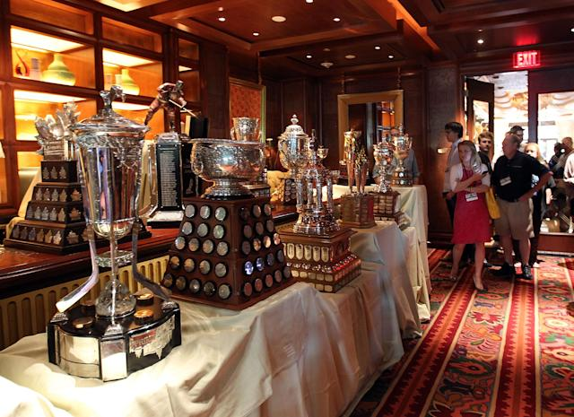 LAS VEGAS, NV - JUNE 19: The NHL hardware that will be awarded Wednesday evening was on display during the NHL Awards nominee media availability at the Wynn Las Vegas Resort on June 19, 2012 in Las Vegas, Nevada. (Photo by Bruce Bennett/Getty Images)