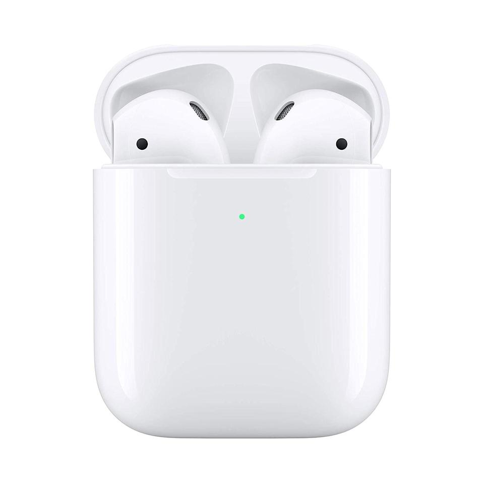 """<p><strong>Apple</strong></p><p>amazon.com</p><p><strong>$159.98</strong></p><p><a href=""""https://www.amazon.com/dp/B07PYLT6DN?tag=syn-yahoo-20&ascsubtag=%5Bartid%7C2141.g.36665348%5Bsrc%7Cyahoo-us"""" rel=""""nofollow noopener"""" target=""""_blank"""" data-ylk=""""slk:Shop Now"""" class=""""link rapid-noclick-resp"""">Shop Now</a></p><p><em>Not rated   5 hours</em></p><p>Although they aren't technically sweat-resistant, the ubiquitous AirPods are still a go-to for countless athletes. Two separate trainers <a href=""""https://www.prevention.com/fitness/workout-clothes-gear/g35463145/best-workout-headphones/"""" rel=""""nofollow noopener"""" target=""""_blank"""" data-ylk=""""slk:previously recommended"""" class=""""link rapid-noclick-resp"""">previously recommended</a> these headphones to us because of their <strong>ease of use, surprisingly powerful grip, and integration with Apple's iOS</strong>, which comes in handy when you're an iPhone user looking to get the most out of a pair of earbuds.</p>"""