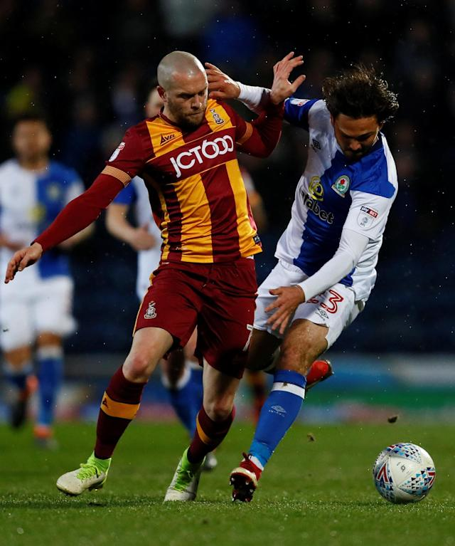 "Soccer Football - League One - Blackburn Rovers vs Bradford City - Ewood Park, Blackburn, Britain - March 29, 2018 Blackburn Rovers Bradley Dack in action with Bradford City's Nicky Law Action Images/Jason Cairnduff EDITORIAL USE ONLY. No use with unauthorized audio, video, data, fixture lists, club/league logos or ""live"" services. Online in-match use limited to 75 images, no video emulation. No use in betting, games or single club/league/player publications. Please contact your account representative for further details."