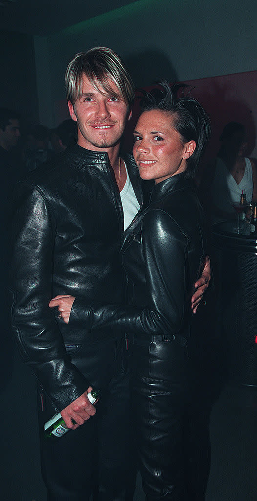 David Beckham and Victoria Adams at Versace Party. (Getty Images)