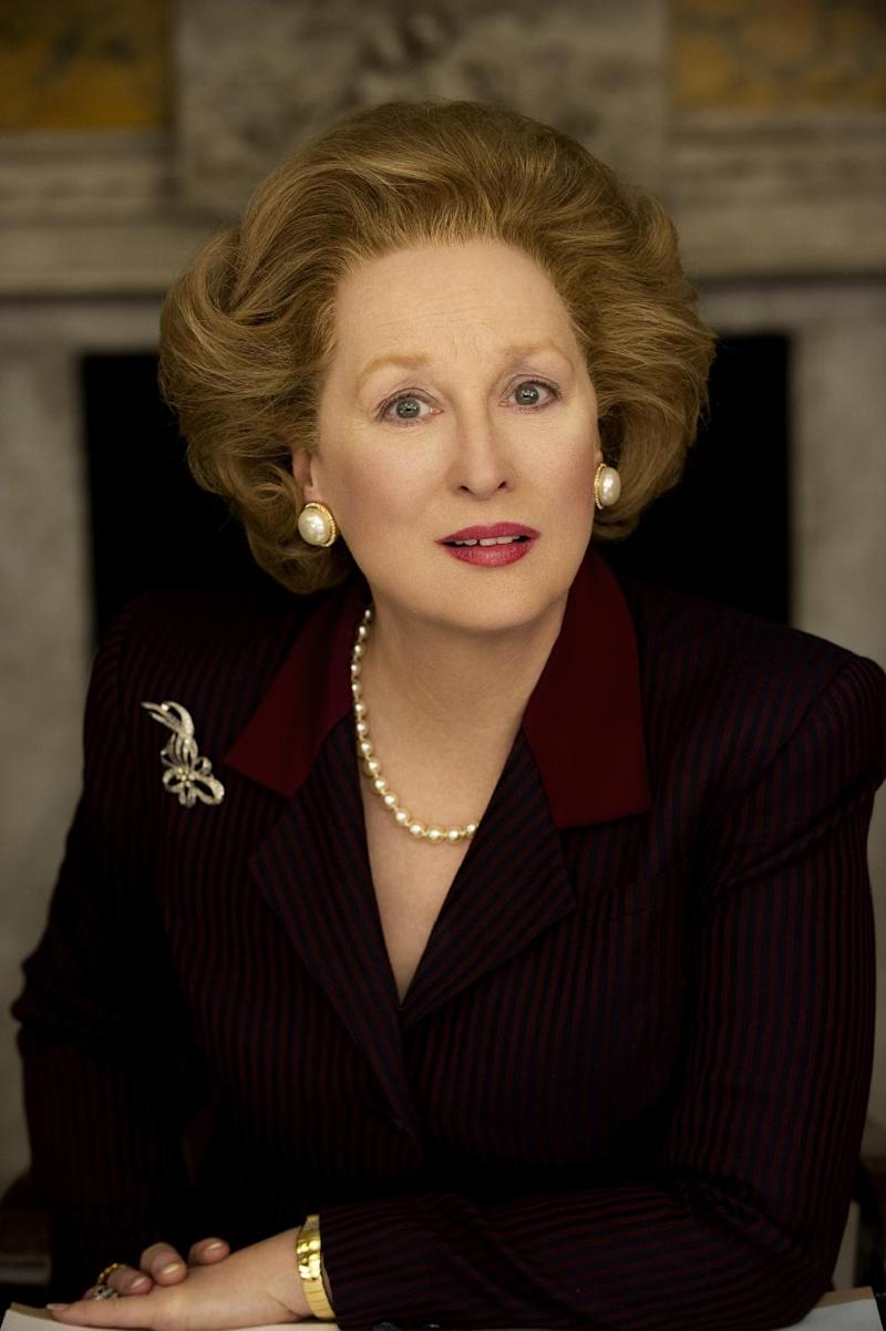 """FILE - This is an undated film image provided by on Feb.1, 2011 by The Weinstein Company, Meryl Streep as she portrays Margaret Thatcher in """"The Iron Lady."""" """"The Iron Lady,"""" a biopic about Margaret Thatcher starring Streep as the former British prime minister.Former British Prime Minister Margaret Thatcher, whose conservative ideas made an enduring impact on Britain, died Monday April 8, 2013. She was 87. (AP Photo/The Weinstein Company, Alex Bailey, File)"""