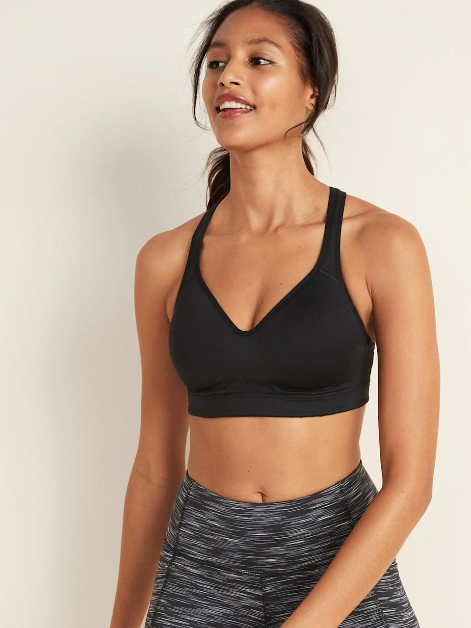 <p>If you're looking for something with extra support for those boot-camp videos, you can't go wrong with this popular <span>Old Navy High-Support Racerback Sports Bra</span> ($20, originally 33). It comes in four neutral colors including a tan shade, a soft light pink, shade, gray and black.</p>