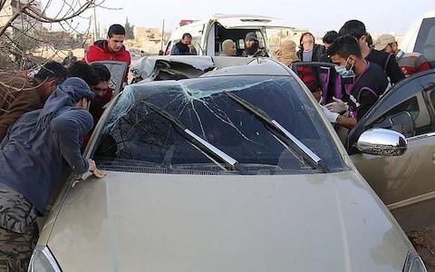 <span>Al-Qaeda deputy Abu Khayr al-Masri's car was targeted by a Hellfire missile. Pictures from the scene in 2017 show minimal damage to the rest of the car - a trademark of the AGM-114R9X,</span> <span>Credit: Twitter </span>