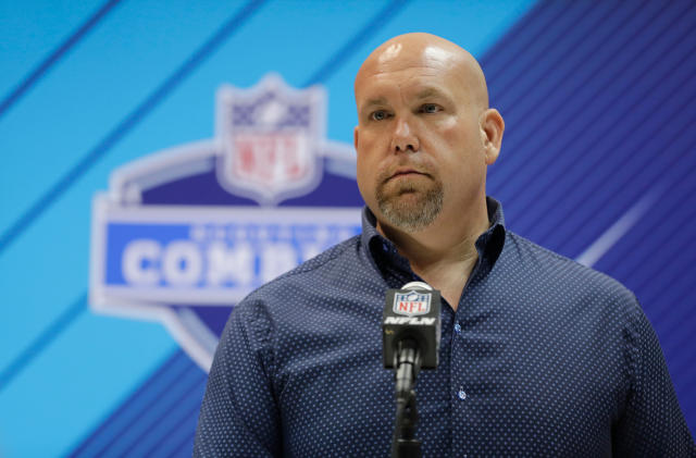 FILE - In this Feb. 28, 2018, file photo, Arizona Cardinals general manager Steve Keim speaks during a press conference at the NFL football scouting combine in Indianapolis. Its a new world for the Cardinals _ a new head coach, new offense, new coordinators, and an old problem. The team still needs a long-term solution at quarterback. Keim addressed that issue short-term by signing Sam Bradford to start and Mike Glennon as the backup. But the Cardinals would love to get a young good one in the draft and nurture him into the job. (AP Photo/Darron Cummings, File)