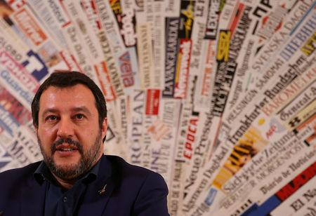 Leader of Italy's far-right League Matteo Salvini attends a news conference at the Foreign Press Club in Rome, Italy March 14, 2018. REUTERS/Tony Gentile
