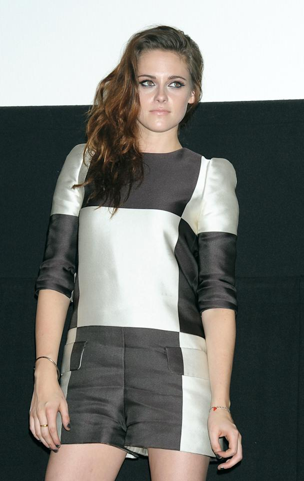 TOKYO, JAPAN - OCTOBER 24:  Actress Kristen Stewart promotes 'The Twilight Saga: Breaking Dawn Part 2' at Shinjuku Piccadilly Theater on October 24, 2012 in Tokyo, Japan. The film will open on December 28 in Japan.  (Photo by Jun Sato/WireImage)