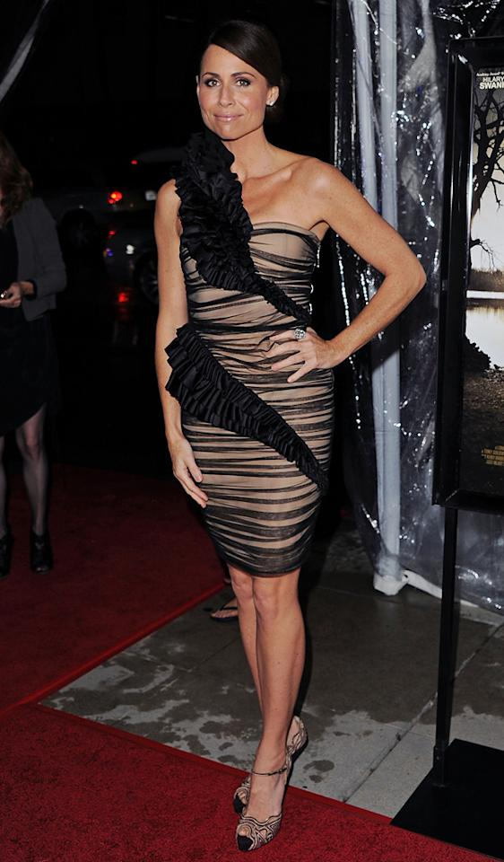 """<a href=""""http://movies.yahoo.com/movie/contributor/1800020232"""">Minnie Driver</a> at the Los Angeles premiere of <a href=""""http://movies.yahoo.com/movie/1810071450/info"""">Conviction</a> on October 5, 2010."""