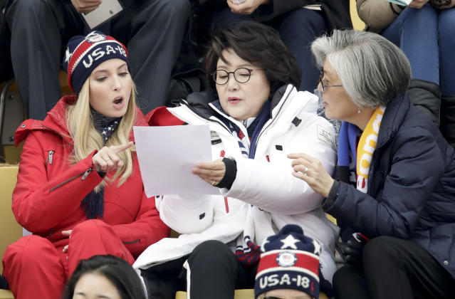 <p>Ivanka Trump, left, talks with Kim Jung-sook, wife of the South Korean President and South Korean Foreign Minister Kang Kyung-wha, right, during the men's Big Air snowboard competition at the 2018 Winter Olympics in Pyeongchang, South Korea, Saturday, Feb. 24, 2018. (AP Photo/Dmitri Lovetsky) </p>