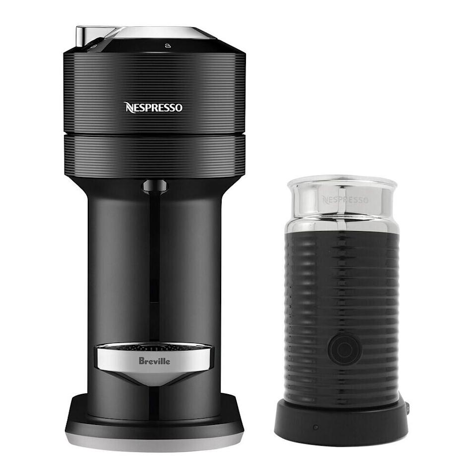 "Get the <a href=""https://fave.co/39eAiTx"" target=""_blank"" rel=""noopener noreferrer"">Nespresso Vertuo Next With Aeroccino 3 By Breville on sale for $125</a> (normally $315) at Sur La Table."