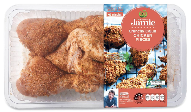 Picture of Crunch Cajun Chicken Pieces from Jamie Oliver's Woolworths collection, which is what the man purchased.