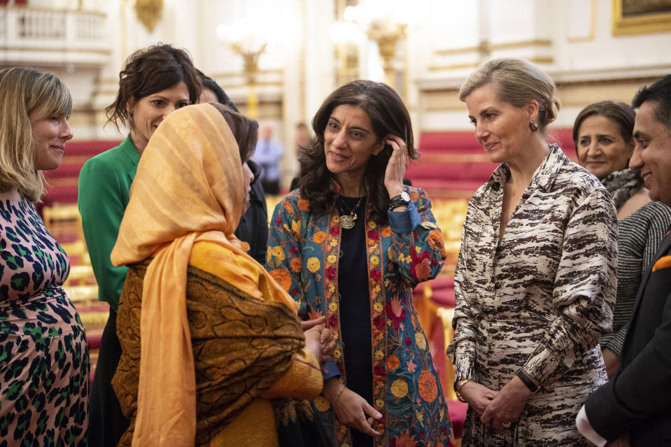 LONDON, ENGLAND - MARCH 8: Sophie, Countess of Wessex talks with guests during a reception at Buckingham Palace for Women Peace builders on International Women's Day on March 8, 2019 in London, England. (Photo by Victoria Jones - WPA Pool/Getty Images)