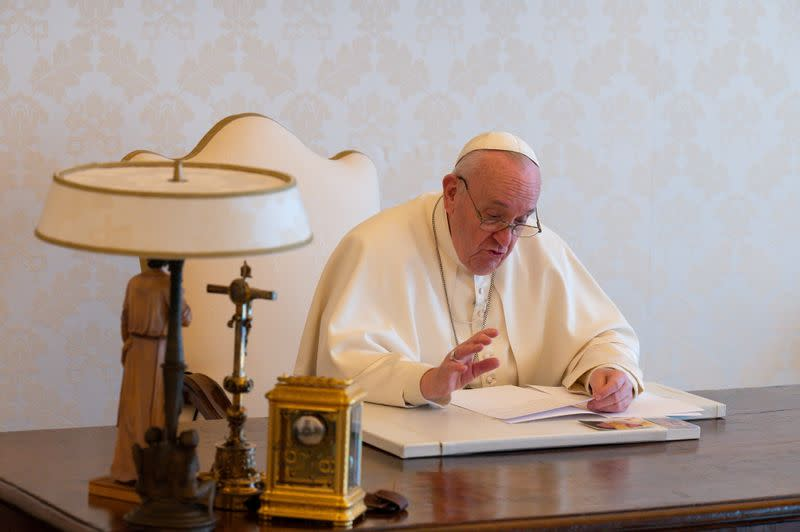 Pope Francis delivers a video message on the occasion of Earth Day, at the Vatican