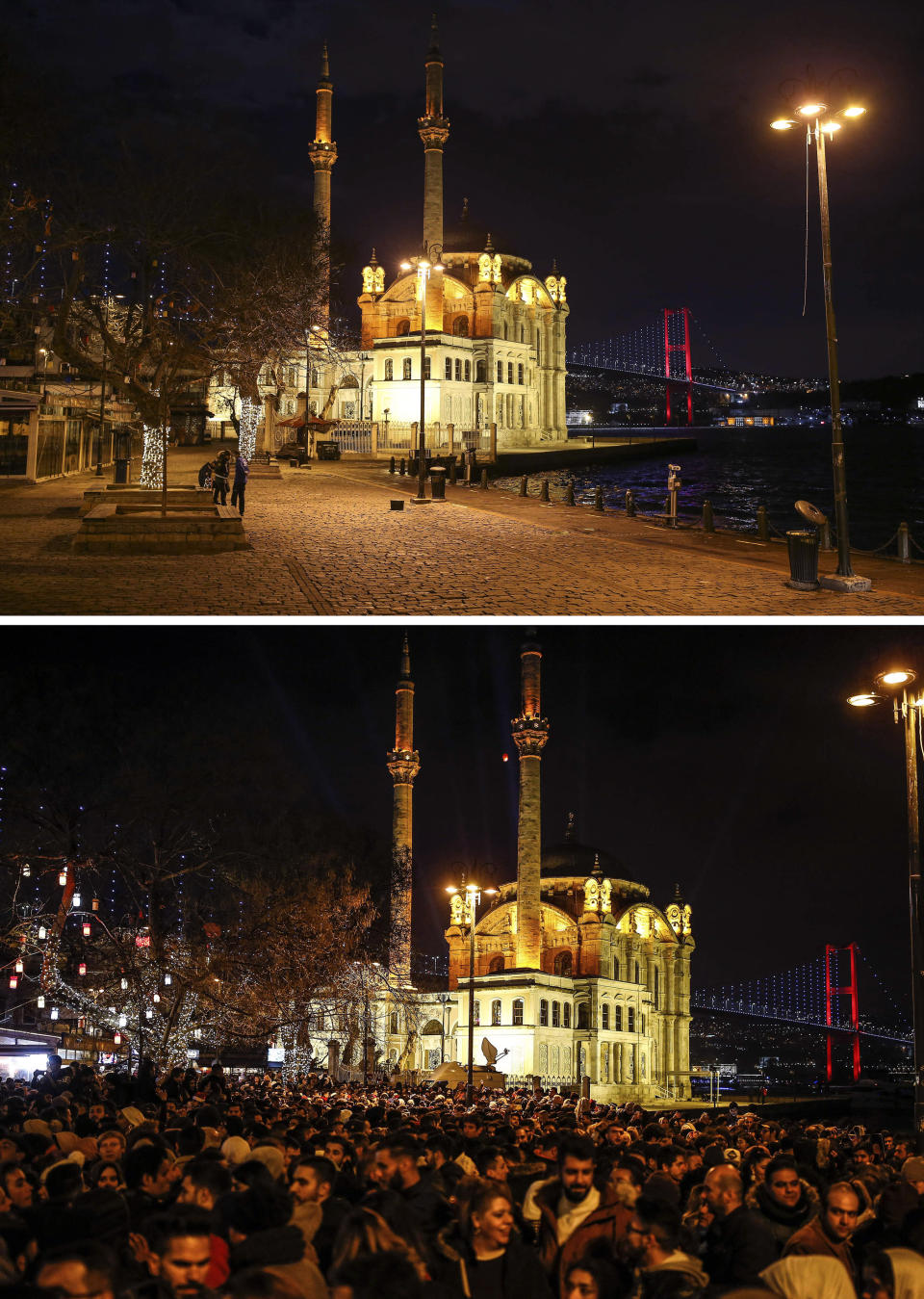 """In this combo of images, a few people, on the top image, stand in the plaza in front of the Ottoman-era Mecidiye mosque in Ortakoy square under the """"July 15th Martyrs' bridge, formerly known as Bosporus Bridge, over the Bosporus Strait, separating Europe and Asia, in Istanbul, late Thursday, Dec. 31, 2020, where in the bottom image people celebrate the new year at the same spot, early Wednesday, Jan. 1, 2020. As the world says goodbye to 2020, there will be countdowns and live performances, but no massed jubilant crowds in traditional gathering spots like the Champs Elysees in Paris and New York City's Times Square this New Year's Eve. The virus that ruined 2020 has led to cancelations of most fireworks displays and public events in favor of made-for-TV-only moments in party spots like London and Rio de Janeiro. (AP Photo/Emrah Gurel)"""