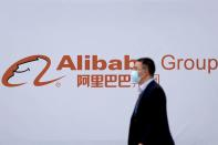 FILE PHOTO: A logo of Alibaba Group is seen during the World Internet Conference (WIC) in Wuzhen