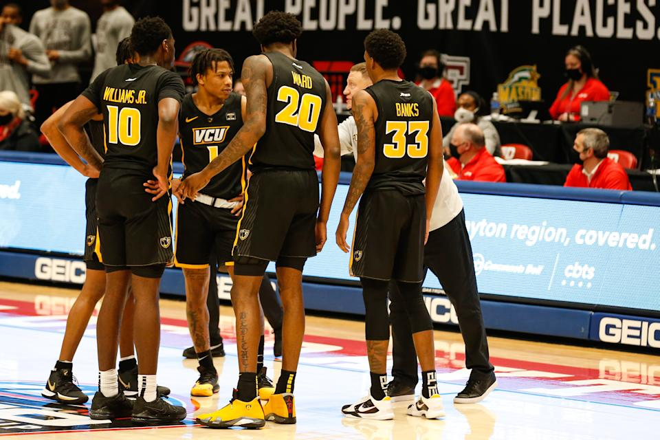 VCU coach Mike Rhoades talks to his team during a timeout during a game between the Rams and the Dayton Flyers on March 14.  (Scott W. Grau/Icon Sportswire via Getty Images)