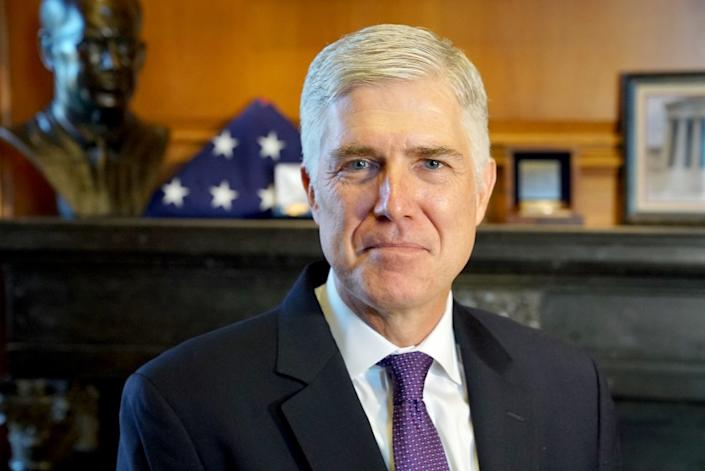 WASHINGTON D.C., AUGUST 28, 2019—Justice Neil Gorsuch is an American lawyer who serves as an Associate Justice of the Supreme Court of the United States, was nominated by Donald Trump to succeed Antonin Scalia, has written a book. (Kirk McKoy / Los Angeles Times)