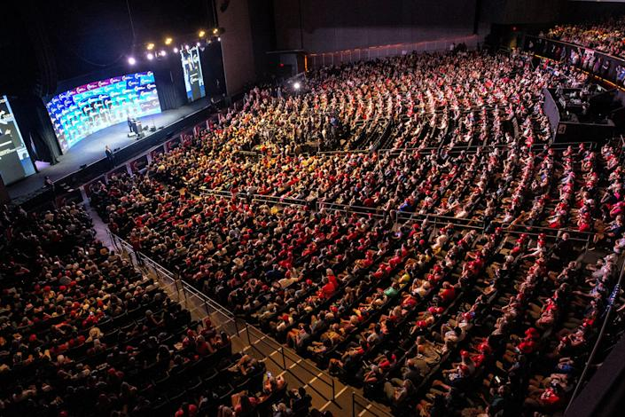 """During his first post-presidency visit to Arizona, former President Donald Trump speaks at the """"Rally to Protect Our Elections!"""" sponsored by Turning Point Action in front of a capacity crowd at the Arizona Federal Theatre in Phoenix, July 24, 2021."""
