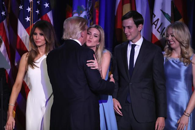 From left, Melania Trump, Donald Trump, Ivanka Trump, Jared Kushner, and Tiffany Trump celebrate on election night in 2016. (Photo: Mark Wilson/Getty Images)