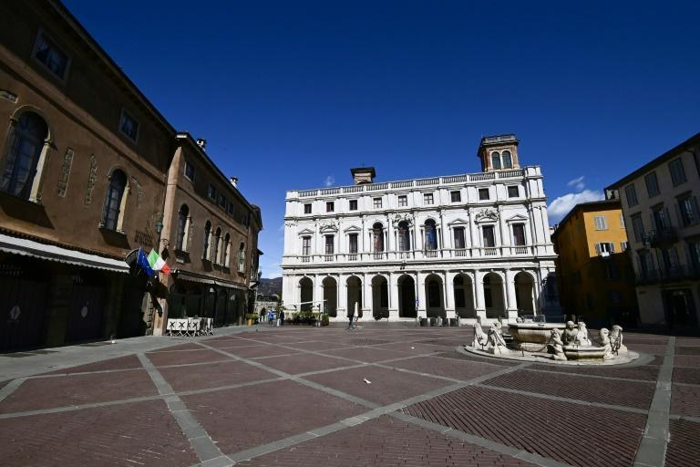 Bergamo's Piazza Vecchia (Old Square) is deserted once again as the city is back under lockdown