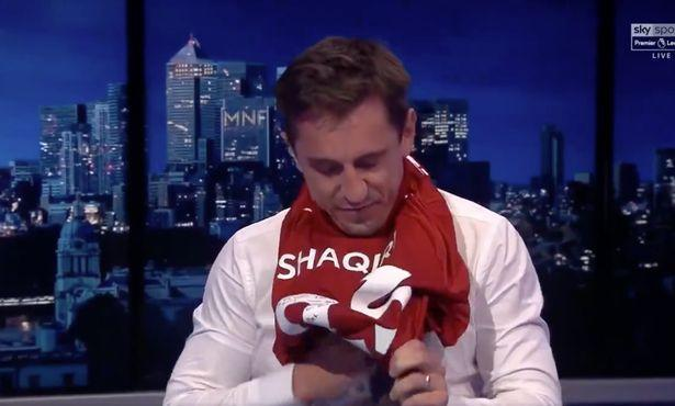 It proved to be an uncomfortable fit for Gary Neville as the former Man Utd man was forced to wear a Liverpool shirt