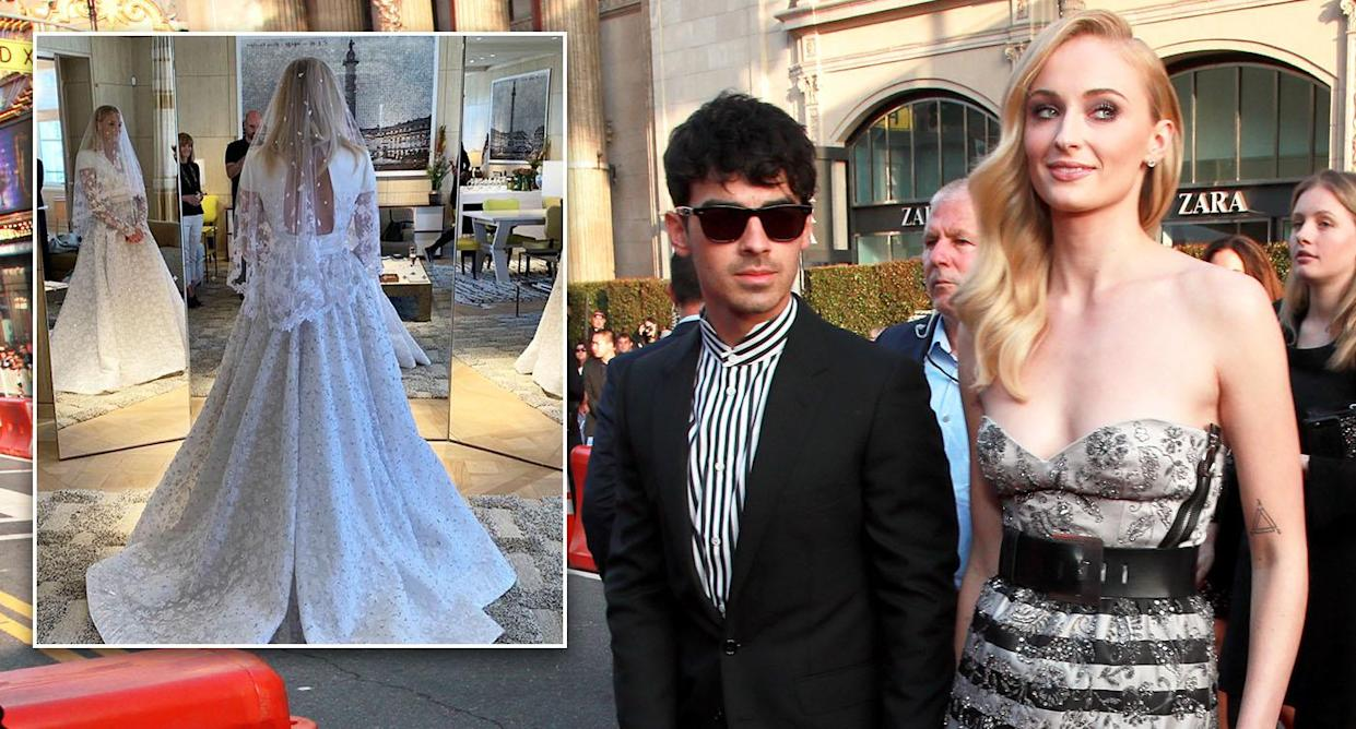 sophie turner wedding dress: first look at louis vuitton gown