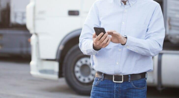 Man using an expense reporting app