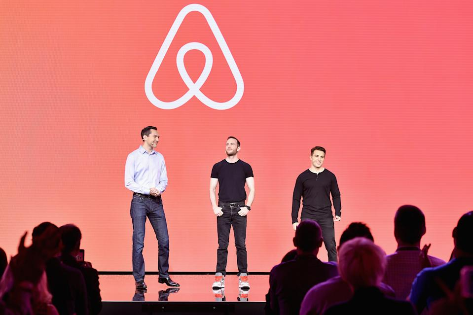 Airbnb cofounders Nathan Blecharczyk, Joe Gebbia, and CEO Brian Chesky speak at Airbnb Open LA on Nov. 17, 2016 in Los Angeles.  (Photo by Mike Windle/Getty Images for Airbnb)