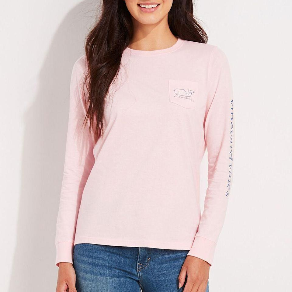 """<p><strong>Vineyard Vines</strong></p><p>vineyardvines.com</p><p><strong>$48.00</strong></p><p><a href=""""https://go.redirectingat.com?id=74968X1596630&url=https%3A%2F%2Fwww.vineyardvines.com%2Fwomens-t-shirts%2Flong-sleeve-bca-whale-pocket-tee%2F2V001385.html&sref=https%3A%2F%2Fwww.prevention.com%2Flife%2Fg34387434%2Fbreast-cancer-shirts-clothing%2F"""" rel=""""nofollow noopener"""" target=""""_blank"""" data-ylk=""""slk:SHOP NOW"""" class=""""link rapid-noclick-resp"""">SHOP NOW</a></p><p>This preppy-style long-sleeve from Vineyard Vines is the classic crew T-shirt that's great for lounging around the house or running errands. It sports the brand's iconic whale on the breast pocket and comes in this adorable pale pink. For each top sold, Vineyard Vines announced they will donate 20% of the proceeds to the <a href=""""https://brightpink.org/"""" rel=""""nofollow noopener"""" target=""""_blank"""" data-ylk=""""slk:Bright Pink"""" class=""""link rapid-noclick-resp"""">Bright Pink</a> non-profit. </p>"""