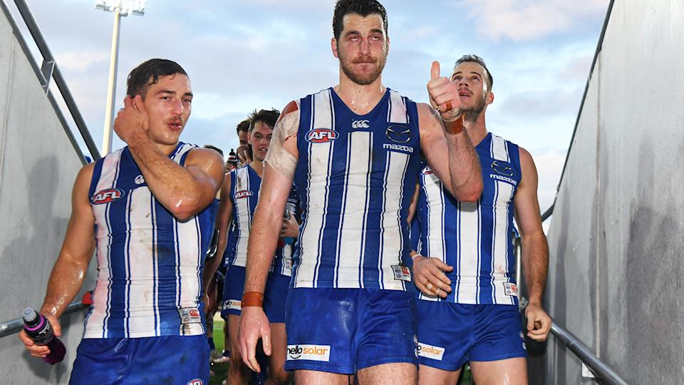 North Melbourne players, pictured here after their win over Gold Coast.