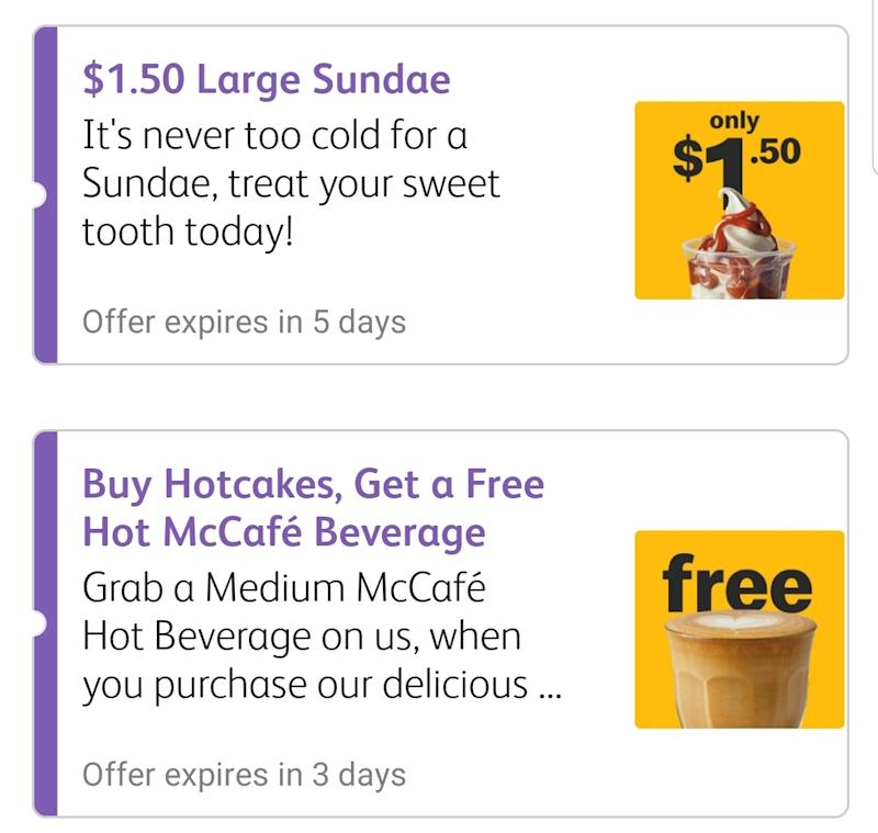 Large sundae and free hot beverage deals on the MyMacca's app.