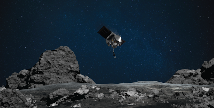 A rendering depicts NASA's OSIRIS-REx mission readying itself to touch the surface of asteroid Bennu.