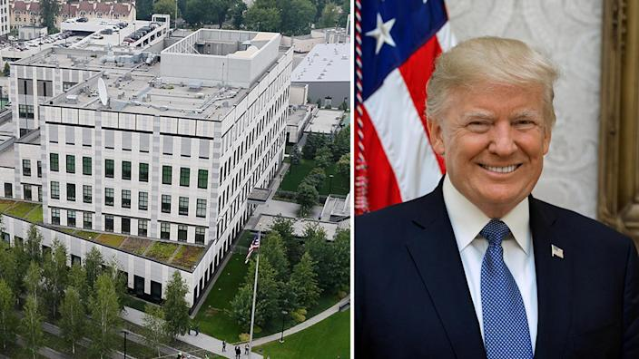 The U.S. embassy compound in Kiev, Ukraine, and the official portrait of President Trump. (Photos: Valentyn Ogirenko/Reuters, The White House)