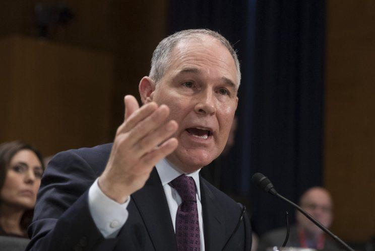 Scott Pruitt, President-elect Donald Trump's nominee to run the Environmental Protection Agency, testifies at his confirmation hearing before the Senate Environment and Public Works Committee on Capitol Hill in Washington, Jan. 18, 2017. (Photo: J. Scott Applewhite/AP)