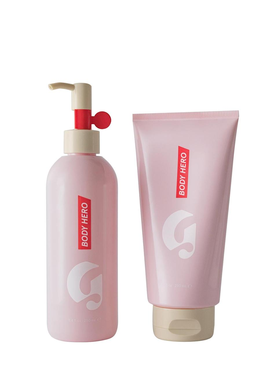 """<h3>Body Hero<br></h3> <br>The launches that gave us the buzzy Body Hero campaign are divisive. On the one hand, the oil cleanser-and-lightweight lotion duo is basically the fastest route to sexy skin in a bottle; on the other, the strong powdery scent doesn't do it for everyone. But it fades fast, so if you can bear to smell like a full-on bouquet from the shoulders down for a few minutes, the lotion is worth it for scoring soft, dewy limbs.<br><br><strong>Glossier</strong> Body Hero Duo, $, available at <a href=""""https://go.skimresources.com/?id=30283X879131&url=https%3A%2F%2Fglossier.sjv.io%2F1MKQz"""" rel=""""nofollow noopener"""" target=""""_blank"""" data-ylk=""""slk:Glossier"""" class=""""link rapid-noclick-resp"""">Glossier</a><br>"""